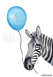 Cut Out Character Template Funny Zebra Character Holds A String With A Holiday Balloon