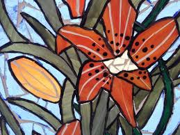 tigerlily stained glass mosaic panel