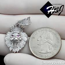 925 sterling silver iced out bling small big lion king head crown pendant sp122