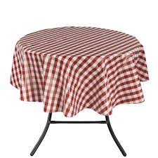 round indoor and outdoor red checd design tablecloth for dining table