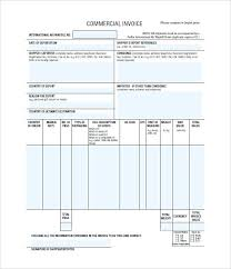 Printable Commercial Invoice Export Invoice Template Commercial Templates Free Word Sample