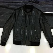 details about men s black real python leather genuine exotic snake skin handmade er jacket