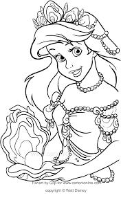 Disegno Di Ariel Con La Perla Gigante La Sirenetta Da Colorare