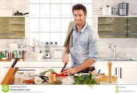 Kitchen Home Handsome Man Cooking In Kitchen At Home Stock Photo Image 41082304