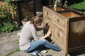 sanding a victorian cupboard