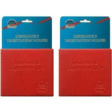 details about 2 red car insurance registration holder wallet 5 25 x4 6 embossed faux leather