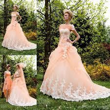 peach wedding dress. Discount Distinctive 2015 Peach A Line Wedding Dresses With