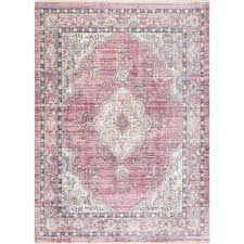 vintage debra medallion fringe pink 5 ft 3 in x 7 ft