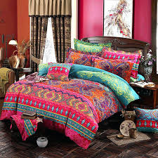 boho bedding queen set size bohemian zipper closure duvet cover sets with flat sheet 4