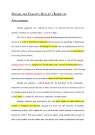 outline and evaluate bowlby s theory of attachments essay  preview of page 1 outline and evaluate bowlby s theory of attachments