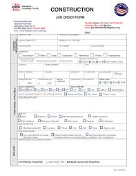 Job Order Form Construction Job Templates At
