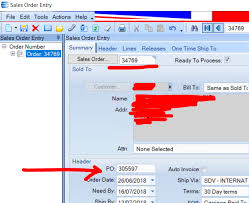 Sales Order Entry Po Number Erp 9 Epicor User Help Forum