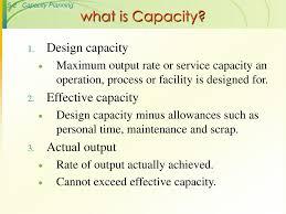 Design Capacity What Is Capacity Design Capacity Effective Capacity Actual