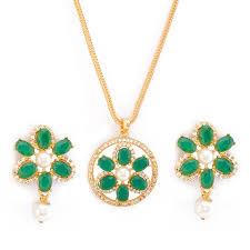 mahi gold plated elegant fl designer pendant set with green cz stones code