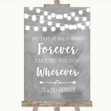 Seating Chart Wedding Sign Wedding Sign Poster Print Grey Watercolour Lights Informal