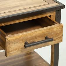 glendora industrial solid wood single drawer nightstand end table