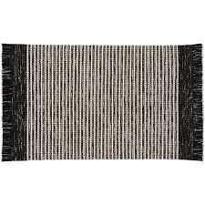 boucle black and white fringe rug