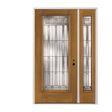 pella full lite decorative glass left hand inswing stained fiberglass prehung entry door with right sidelight with insulating core common 48 in x 80 in