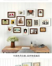 past style khaki cyan wooden photo frame wall 15 pcs photo frame set diy wedding