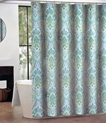 brown and blue shower curtain. tahari izmir fabric shower curtain blue green yellow medallion pattern on white brown and