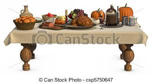 dinner table clipart. a full thanksgiving dinner on table isolated white clipart