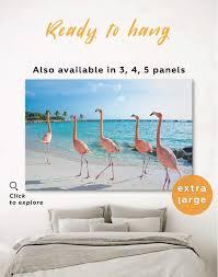 coast and flamingo canvas wall art