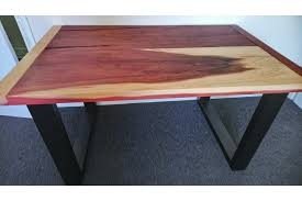 contemporary style desk or table giant sequoia solid wood with square box section legs photo 1