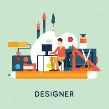 Vector Image Designer Designer Character And Workspace With Tools And Devices In Modern