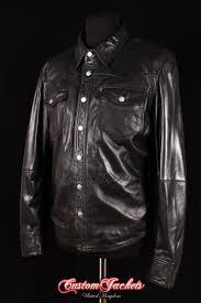men s west black lambskin biker police trucker western cowboy real leather shirt