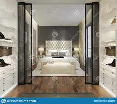 Bedroom Design With Walk In Closet 3d Rendering Luxury Modern Bedroom Suite Tv With Wardrobe