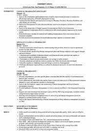 Pharmacist Objective Resume Fresh Clinical Pharmacist Resume