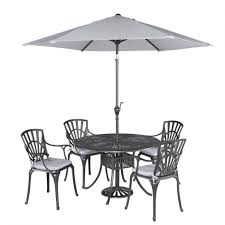 table and stacking chairs patio set with striped umbrella patio table