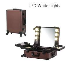 makeup train case with lights coffee led white light makeup artist train case professional 4 wheels