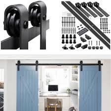 10ft single sliding barn door hardware straight j roller track closet kit usa as