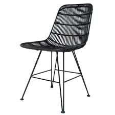 black metal dining chairs. HK-living Dining Chair Made Of Metal / Rattan, Black, 80x44x57cm - Lefliving.com Black Chairs