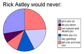 Rick Astley Would Never Pie Chart Pin On Youre Friends With Me So Youll Think This Is Funny