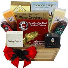 meat and cheese gourmet food gift basket with smoked salmon