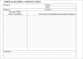 Cornell Notes Template Word Cornell Notes Template 51 Free Word Pdf Format Download