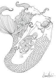 Realistic Mermaid Coloring Pages Free Printable For Adults