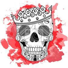 Fototapeta Line Art Ruční Kreslení černá Lebka S Korunou Na Izolovaných
