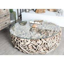 Brown Round Driftwood Twigs And Glass Coffee Table