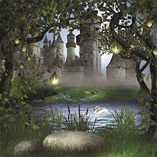 Aofoto 7x7ft Vintage Medieval Castle Photography Backdrop Dreamy Forest Background Fairy Tale Lamp Garden Tree Leaves Lake Swan Kid Girl Boy Princess