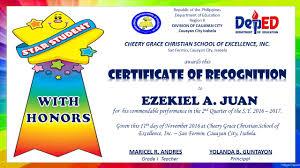Sample Certificate Of Recognition For Honor Pupils Flowersheet Com
