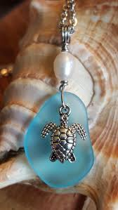 sea turtle blue sea gl necklace freshwater pearl hand crafted ocean beach handmade pendant honu seaturtle