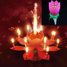 new romantic al lotus flower happy birthday party candle lights kid gift cake decoration