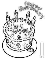 Small Picture Happy Birthday Cake with Four Candles Coloring Page Color Luna