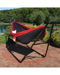 two person hammock with stand. Sunnydaze Double Nylon Parachute Camping Hammock, Includes Carabiners And 2 Person Multi-Use Steel Two Hammock With Stand