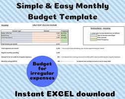 Easy Monthly Budget Template Simple Monthly Budget Template Excel Instant Download Savings Personal Finance Easy Household Budgeting Spending Calculator
