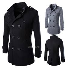 wool coat men s double ted peacoat long men jacket winter formal dress top