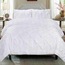 cathay home pintuck white duvet cover 3 piece